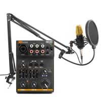 Vonyx CMS400B Studio Condenser Microphone Black/Gold with Stand, Pop Filter & Mixer