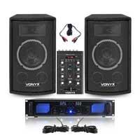 "Vonyx SL8 6"" Passive DJ/PA Speaker Pair, Mixer & SPL500BT Amplifier"