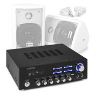 """Skytec White 4"""" Passive Stereo Speaker Set with AV120BT Amplifier"""