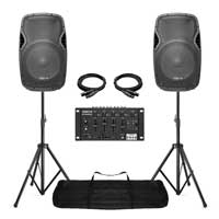 """Vonyx AP1500A 15"""" Active PA Speaker Pair with STM3025 Bluetooth Mixer"""