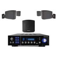 Fonestar CUBE-62 Black Wall Mount Speakers with AV320BT Bluetooth Amplifier