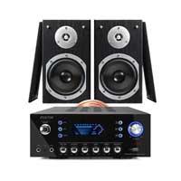 """Fenton SHFB55B 5"""" Hi-Fi Bookshelf Speaker Set & AV120FM-BT Amplifier"""