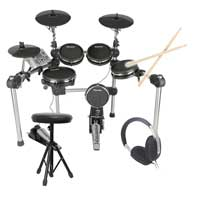 Carlsbro CSD500 Electric Mesh Drum Kit + Sticks, Headphones & Stool