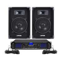 "Max 8"" Passive DJ Speakers Pair & FPL500 Amplifier"