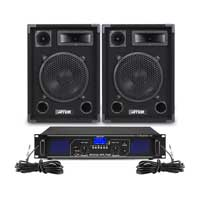 "Max 10"" Passive DJ Speakers Pair & FPL700 Amplifier"