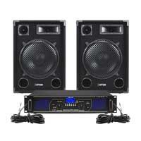 "Max SP12 12"" Passive DJ Speaker Pair with FPL1000 Amplifier"
