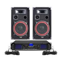 "Max Red 10"" Passive DJ Speakers Pair & FPL1000 Amplifier"