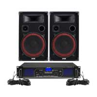 "Max Red 12"" Passive DJ Speakers Pair & FPL1000 Amplifier"