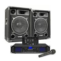 "Max 10"" Passive DJ Speakers Pair, Mixer, Mics & FPL700 Amplifier"