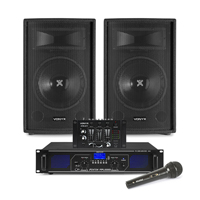 "Vonyx SL10 10"" Passive DJ/PA Speaker Pair, Mixer, Mics & FPL1000 Amplifier"
