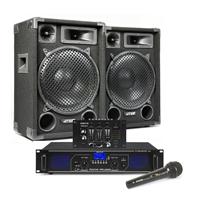 "Max SP12 12"" Passive DJ Speaker Pair, Mixer, Mics & FPL1000 Amplifier"