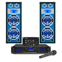 "8"" Bluetooth Party Speakers and Amplifier, DJ Mixer & PA Mic FPL1000 MP3"