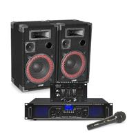 "Max Red 10"" Passive DJ Speakers Pair, Mixer, Mics & FPL1000 Amplifier"