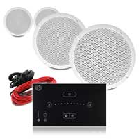 """Vonyx Waterproof 5"""" Ceiling Speaker System with Systemline E50 Touch Panel, Pair"""