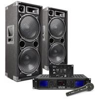 "Max SP212 Dual 12"" Passive DJ Speaker Pair, Mixer, Mics & SPL700 Amplifier"