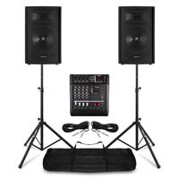"Vonyx 12"" Passive DJ/PA Speaker Pair, Mixer & Stands"