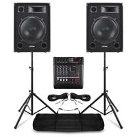 """Max SP15 15"""" Passive DJ Speaker, Mixer & Stands"""