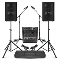 """PA System with Vonyx 12"""" Passive PA Speakers, AM5A Mixer, Microphone & Stands"""