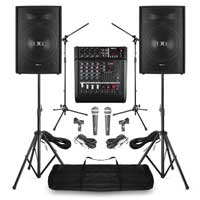 """PA System with Vonyx 15"""" Passive PA Speakers, AM5A Mixer, Microphone & Stands"""