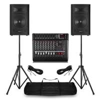 """PA System with Vonyx 12"""" Passive PA Speakers, AM8A Mixer & Stands"""