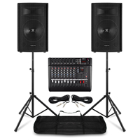"""PA System with Vonyx 15"""" Passive PA Speakers, AM8A Mixer & Stands"""