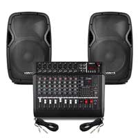 "Vonyx AP1200 12"" Passive DJ/PA Speaker Pair & AM8A 8 Channel Powered Mixer"
