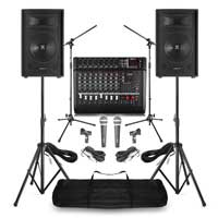 "Complete Band PA System with Vonyx 12"" Passive PA Speakers, Mixer Amplifier, Mics & Stands"