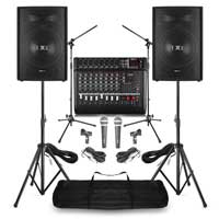 "Complete Band PA System with Vonyx 15"" Passive PA Speakers, Mixer Amplifier, Mics & Stands"