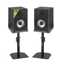 Vonyx SM50 Active Studio Monitors Pair, Monitor Stands & Isolation Pads