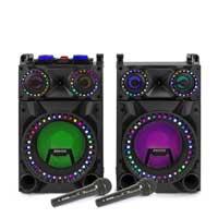 "Fenton VS12 12"" Bluetooth LED Karaoke Speakers with Microphones"