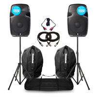 """Vonyx SPJ-1200A 12"""" Active PA Speaker Pair, Bags & Stands"""