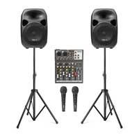 """Vonyx SPS122 12"""" Active Speaker Set with Stands, Mixer & Mics"""