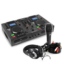 PD CDJ450 DJ Media Player with DJ Microphone & Headphone Set