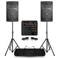 "PD-415A 15"" Powered Speakers with RCF XR 10 Channel Mixer and Stands"