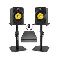 Vonyx XP50 Active Studio Monitors Pair, Studio Monitor Stands & Isolation Pads