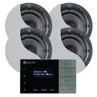 """Systemline E100 6.5"""" Bluetooth Ceiling Speakers (4) & Amplifier System"""