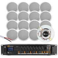 "4-Zone 5"" Ceiling Speaker Bluetooth Installation System, Set of 16"