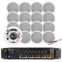 "4-Zone 6"" Ceiling Speaker Bluetooth Installation System, Set of 16"