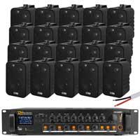 """4-Zone 4"""" Wall Speaker & Amplifier System Pair Black Speakers"""