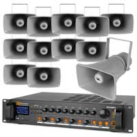 4-Zone Outdoor PA System with Horn Speakers & 100V Bluetooth Amplifier, Set of 12