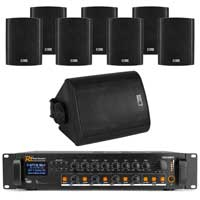 """4-Zone Wall PA System with 4"""" Black Speakers & Bluetooth Amplifier, Set of 8"""