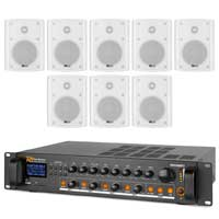 "4-Zone Wall PA System with 5"" Black Speakers & Bluetooth Amplifier, Set of 8"