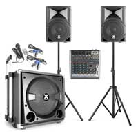 Complete PA System with Vonyx VX800BT Active Speakers, Subwoofer, 6 Channel Mixer & Stands