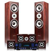Walnut Hi-Fi 5.0 Surround Sound Speakers and Amplifier Set