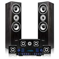 Black Hi-Fi 5.0 Surround Sound Speakers and Amplifier Set