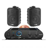 "PD BGO30 3"" Black Wall Speakers Pair with Bluetooth Amplifier"