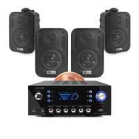 4x PD BGO30 3 Inch Black Wall Speakers with Bluetooth Amplifier