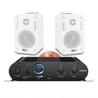 Pair of PD BGO30 3 Inch White Wall Speakers with Bluetooth Amplifier
