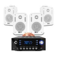 4x PD BGO30 3 Inch White Wall Speakers with Bluetooth Amplifier
