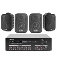 4x PD BC30V 100V 3 Inch Black Wall Speakers with Amplifier